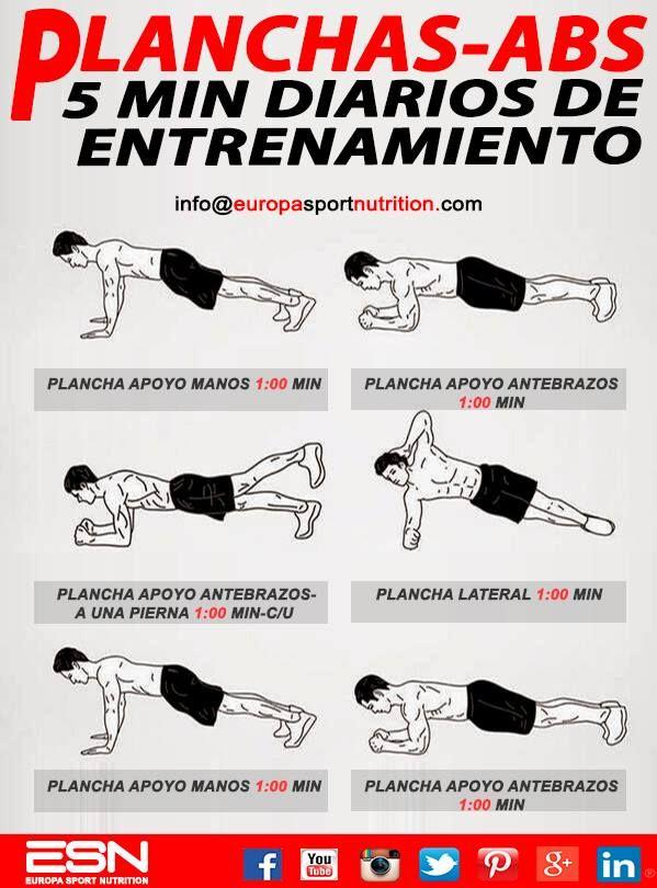 5 Minutos de entrenamiento diario-Planchas ABS La clave de un abdomen 'six pack' está en combinar una dieta adecuada con una serie de ejercicios específicos que trabajen todo el grupo muscular que da forma al abdomen: músculos superiores, inferiores y oblicuos.