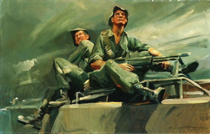 McFadyen, Ken 'Diggers sitting on an armoured personnel carrier, Phuoc Tuy Province 1967', oil on canvas on hardboard, 35.5 x 54.8 cm.  #kenmcfayden #vietnamoncanvas #sandrafingerlee #vietnamwar #warart