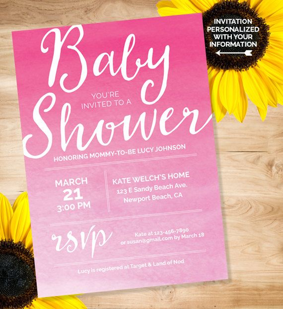 Baby shower invitation. Baby shower invite. Custom invitation. Baby girl shower set. Pink watercolor baby shower printable kit. Baby shower party supplies.