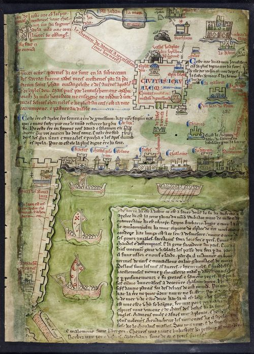 From the Medieval #Manuscripts blog post 'Medieval Maps of the Holy Land'. Image: The Acre map of Matthew Paris