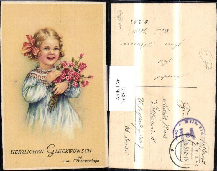 168312,Namenstag süßes Mädchen m. Schleife in den Haaren Blumenstrauß Rosen | eBay