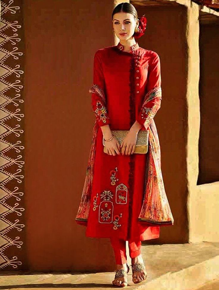 Snap up the style this season with this angelic red linen pant style salwar suit. This attire is adorned with fabulous lace border, resham embroidery, stone work and zari work. The blindness of these salwar suit is make a well space in all women. #designersuit #redsuit #lookbuylike