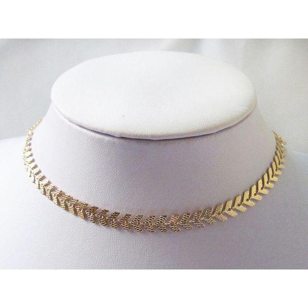 fish bone gold choker necklace, gold choker necklace, chocker... (€26) ❤ liked…