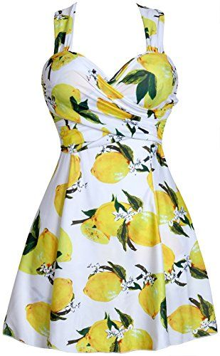 Women's Plus Size Swimwear Elegant One Piece Swimdress Long Torso Swimsuits FBA White Lemon 5XL(US16-18)