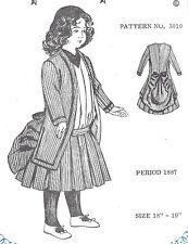 """18-19"""" старинный bru DOLL@1887 турнюр платье узор/французский Jumeau-немецкий ребенок"""