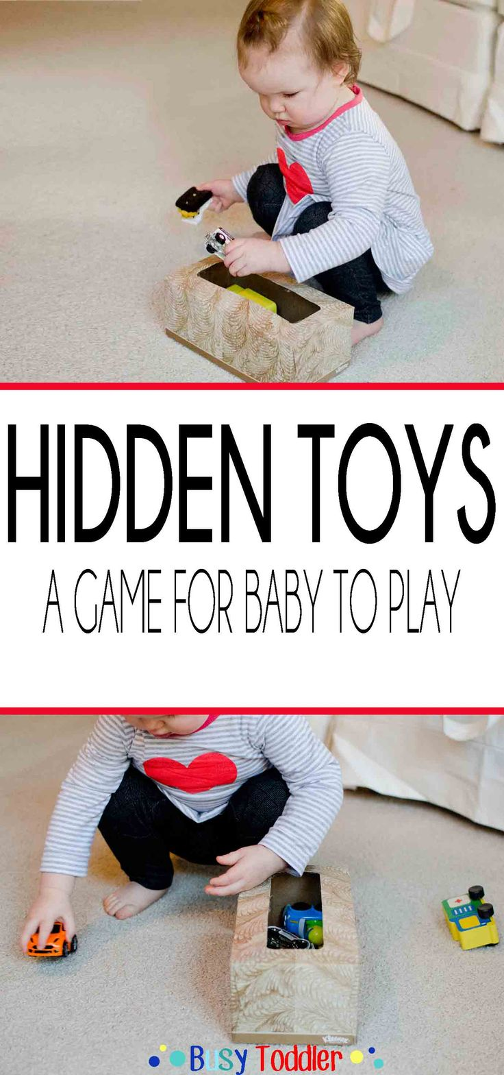 HIDDEN TOYS: a simple to set up baby activity that is perfect for curious, on-the-go babies!
