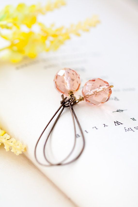 Peach Pink Earrings Vintage Glass Earrings by MeMadeJewels on Etsy
