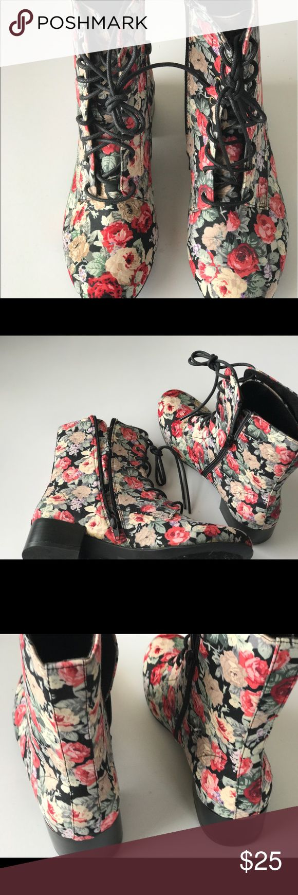 Floral print combat Boot inspired lace up boots. Floral print combat Boot inspired lace up boots. Shoes Lace Up Boots