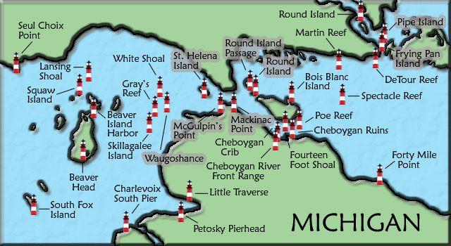 Mackinac Straits Michigan Lighthouse Map Michigan Places To Visit Pinterest Lighthouse