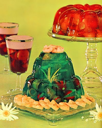 Jell-o World, with shrimp on top?? Reminds me of the blog: Bad Jelly. LOL!