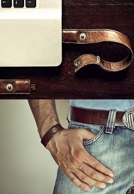 leather wristband USB - This would look very nice on my hubby.