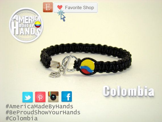 Colombia Flag Black 1 mm Leather bracelet by cristhercastro, $12.99