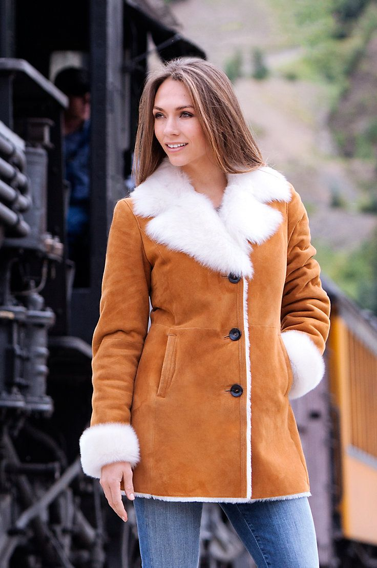 Women's Lucille Shearling Sheepskin Coat With Toscana Trim by Overland Sheepskin Co. (style 13330)
