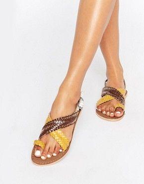 Park Lane Weave Leather Flat Sandals