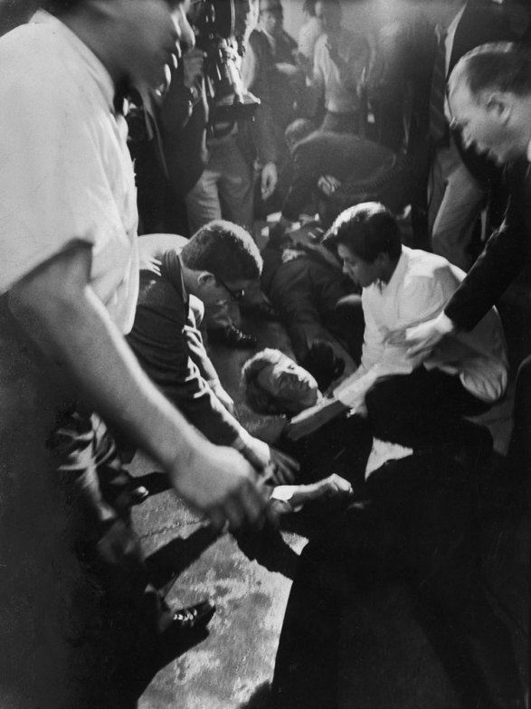A mortally wounded Robert Kennedy on the floor of the ... Robert Kennedy Assassination