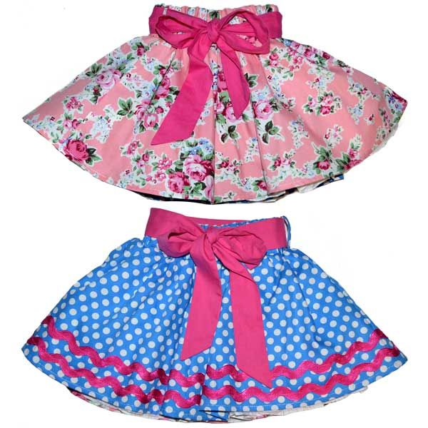 Reversible Skirt, Side 1 - Pink Floral, Side 2 - Blue Polka | Rock Your Baby www.rockyourbaby.com | kids fashion