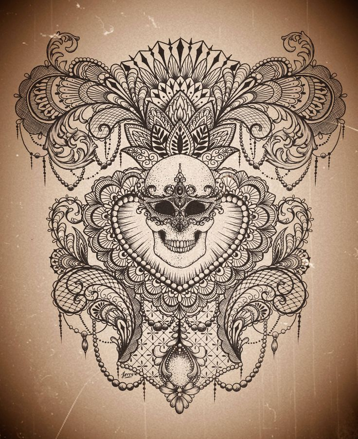 design by Dzeraldas Jerry Kudrevicius, atlantic coast tattoo, beautiful lace mandala mendi skull idea t-shirt, tattoo design. lotus flower.