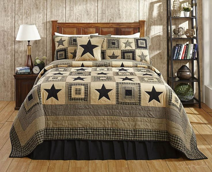 3pc Colonial Star Black Tan Quilt Set By Olivias Heartland Queen Size OliviasHeartland