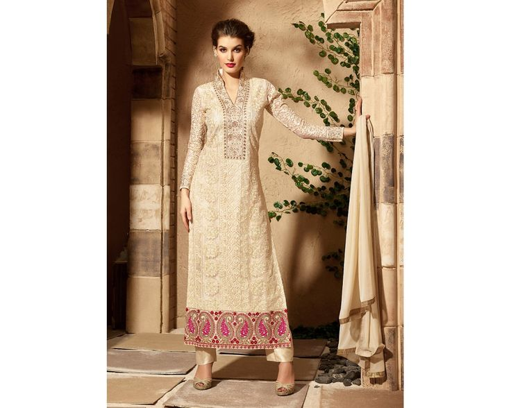 Buy Online Pant Suits Beige Net Straight Cut Style Pant Suit BZ4494-70592 by SariJewels Offering Worldwide Shipping