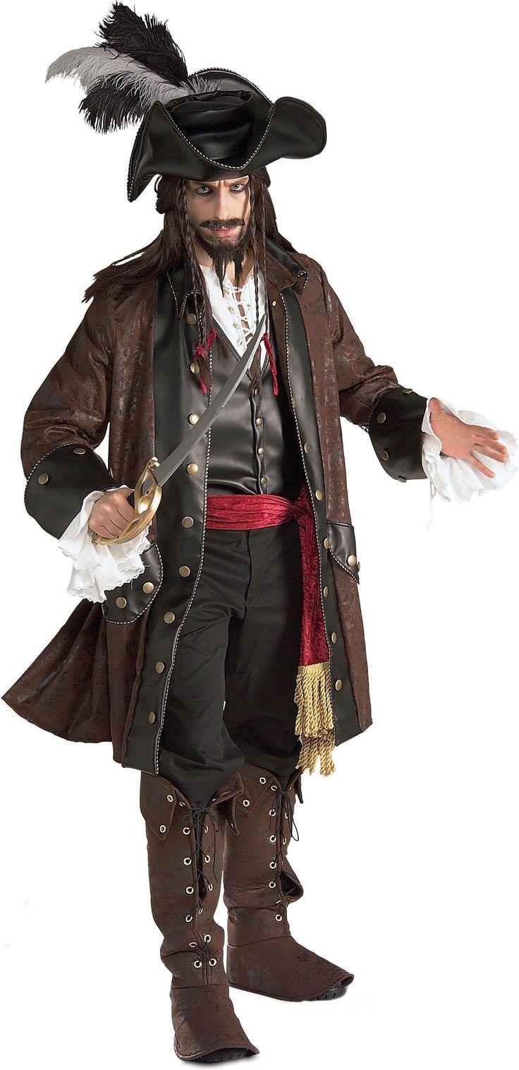 Luxueus Pirates of the Carribeankostuum voor mannen: Dit Pirates of the Carribeankostuum voor mannen bestaat uit vijf delen. Prachtige lange jas in leer-en daimlook. Een wit hemd en een gilet dat op het hemd genaaid werd. Het hemd heeft een...