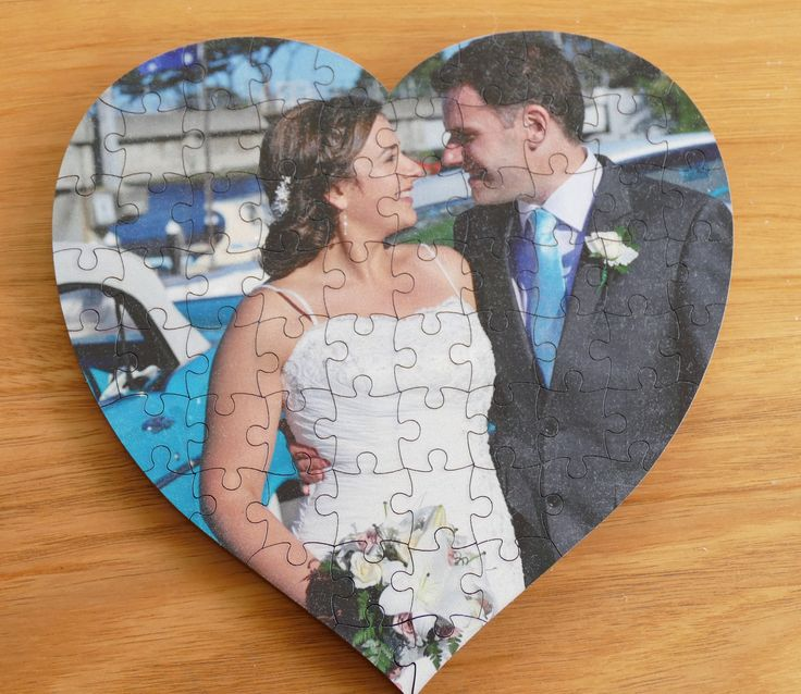 Wooden jigsaw laser cut heart with colour photo print of wedding