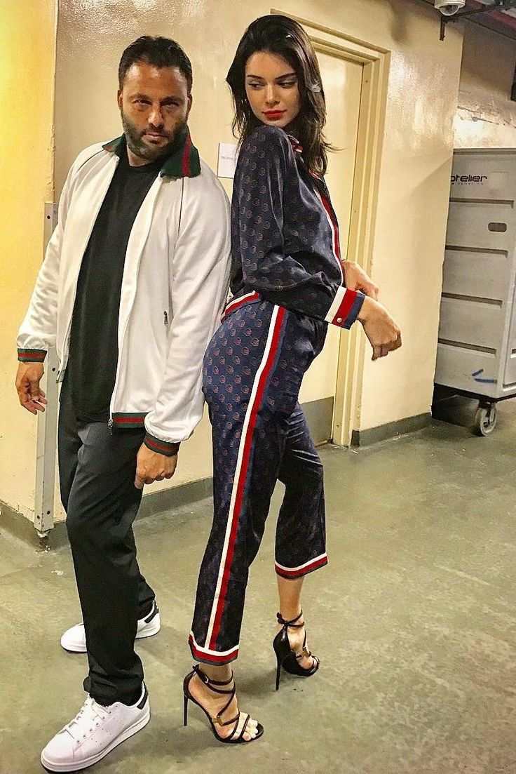 Kendall Jenner wearing Gucci Ghost Silk Shirt and Gucci Ghost Silk Pajama Pants