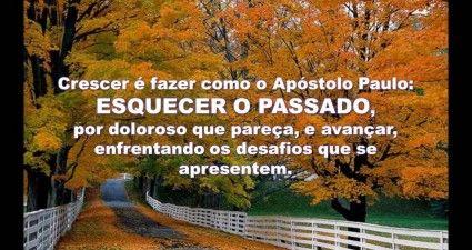 CRESCER E FAZER COMO O APOSTOLO PAULO: ESQUECER O PASSADO, POR DOLOROSO QUE PARECA, E AVANCAR, ENFRENTANDO OS DESAFIOS QUE SE APRESENTEM