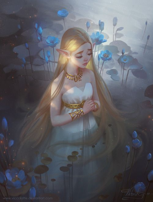 """artofviccolatte: """" The newest Zelda trailer was all kinds of amazing! This was inspired by the pond scene. So much fun to paint! Love both her outfits in the trailer:D """""""