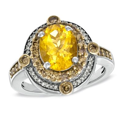 Zales Oval Citrine Ring in Sterling Silver with 14K Gold Plate - Size 7 gCiIniTMT