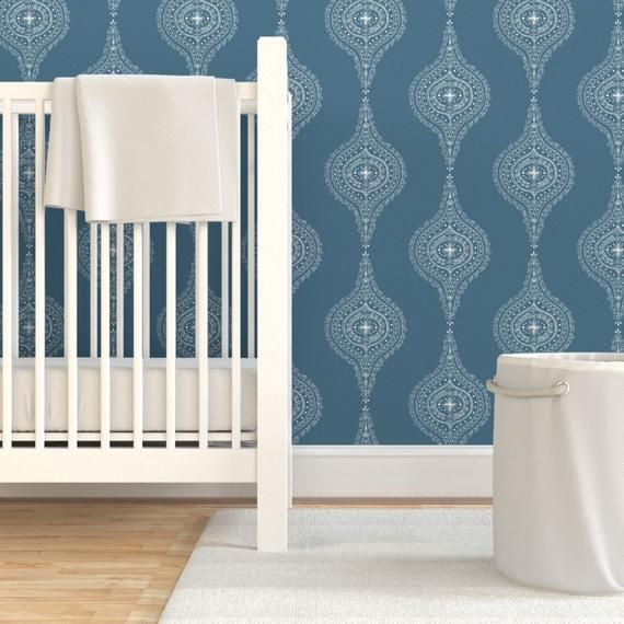 Modern Simple Custom Printed Removable Self Adhesive Wallpaper Roll by Spoonflower Ogee Wallpaper Moroccan Blue On White By Hazelrose