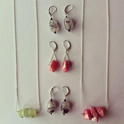 New Jade, Pink Rhodochrosite and Rutilated Quartz jewellery by Della-B Designs