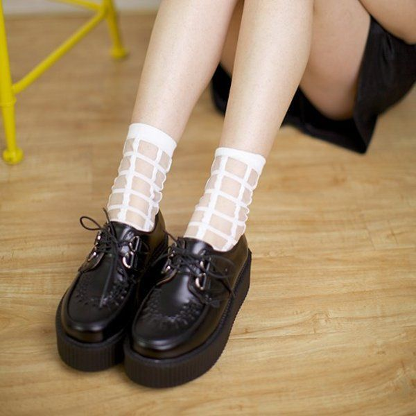 Women Ultra-Thin Transparent Plaid Grid Crystal Silk Mesh Lace Ankle Socks