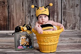 Bumble Bee Suit (Comes in 0-3, 3-6, 6-9, 9-12, 12-18, 18-24, 3T, 4T, 5T, 6-7, 8-9, 10-11) Hat comes in all sizes… There are MANY variations to this pattern. Included in the pattern is a flower, heart and shoulder straps pattern. This pattern has been tested by 12 people to ensure you have an error free pattern. Photos by Scantling Photography. This pattern is 24 pages long you will have lots of help through out it with photos and notes.