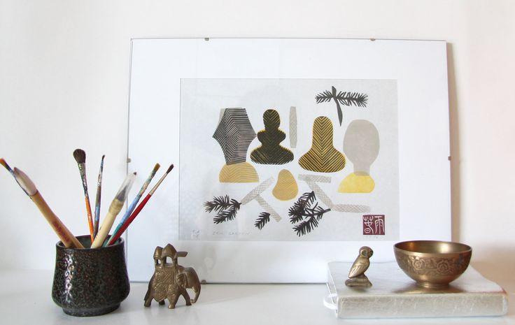 Zen Garden. original linocut monotype print, geometric tribal art by paulinavarregn on Etsy