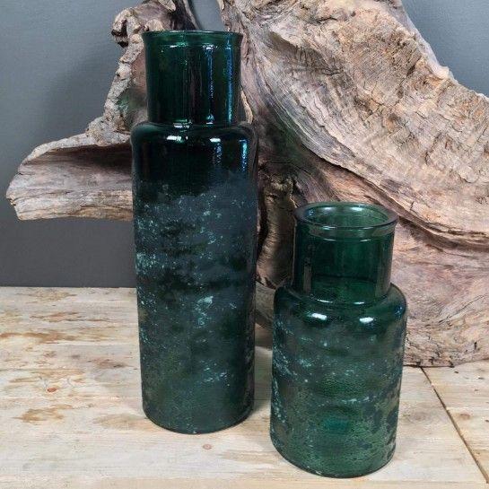 Σετ γυάλινες μπουκάλες σε πράσινο χρώμα.http://nedashop.gr/Spiti-Diakosmhsh/gyales/set-gyalines-mpoykales-prasines