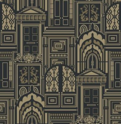 Opening Doors Antique Gold (950802) - Sophie Conran Wallpapers - A beautiful true flock design with ornate doors on a metallic background.  Shown in the black on antique gold colourway. Please request sample for true colour match. Paste the wall.