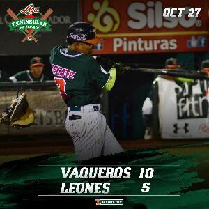 Mérida, Yuc. (www.leones.mx / Mario Serrano) 27 de octubre.- Los Vaqueros de Calkiní le cortaron la racha a los Leones de Yucatán al vencerl...