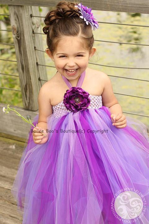 Flower Girl Dress, Deep Purple Tutu Dress, Tutu Dress, Pageant Size 2T to 4T. $62.50, via Etsy.