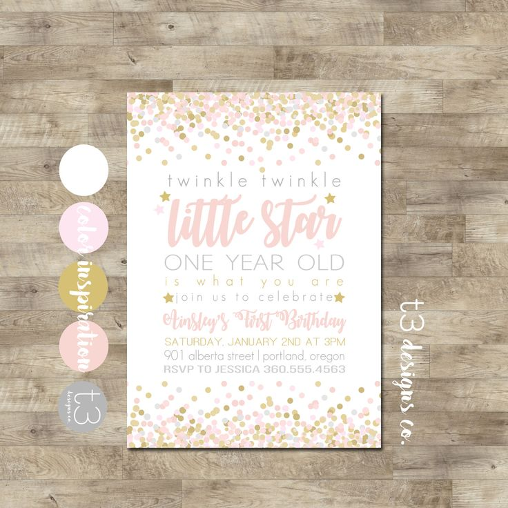 Twinkle Twinkle Little Star First Birthday Invitation, girl first birthday invitation, Pink and Gold Invitation, Little Star Birthday Invite by T3DesignsCo on Etsy https://www.etsy.com/listing/503048819/twinkle-twinkle-little-star-first