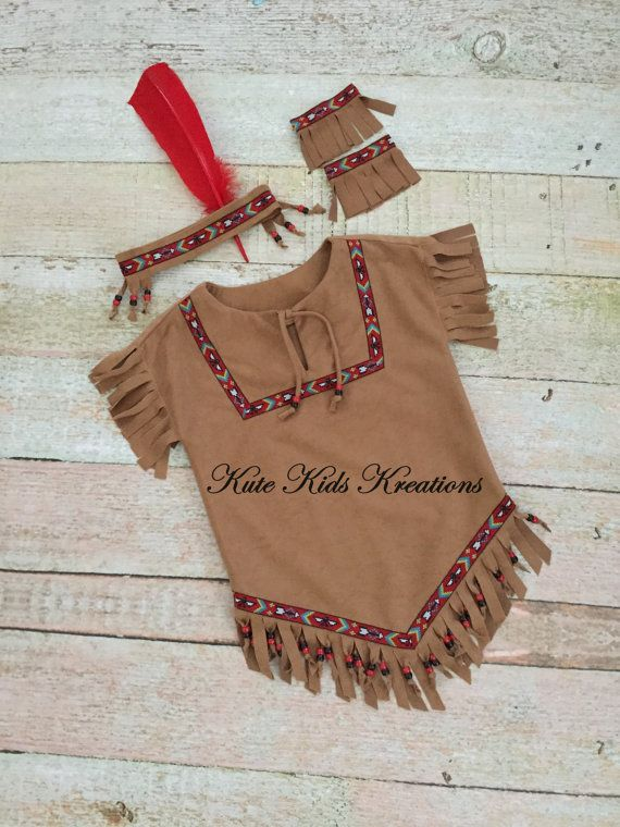 Girl's Native American Inspired Indian Costume, Made to Order, Available in Sizes 2/4, 6/8, 10/12