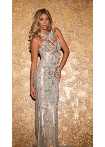 Holt susan gold metallic painted strapless evening gown for Holt couture dresses