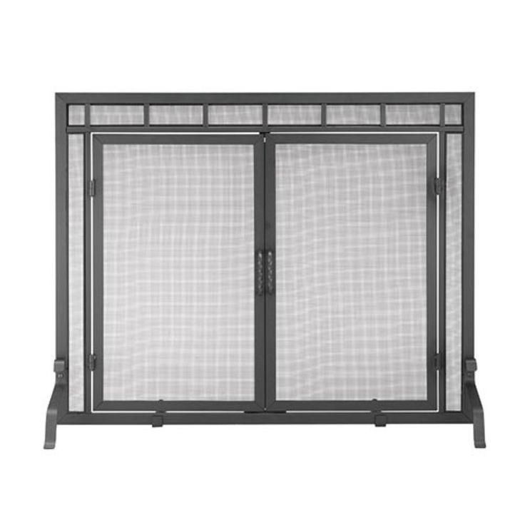 """44""""x33"""" Minuteman International Black Sidelight Classic Flat Fireplace Screen with Doors - Adorn your hearth with the understated elegance of the Black Sidelight Classic Flat Fireplace Screen with Doors . This well-designed screen is a functional..."""