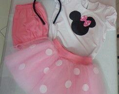 Fantasia Minnie Rosa Infantil