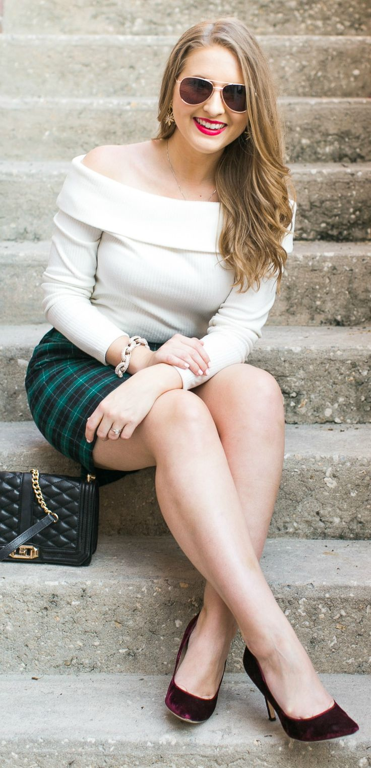 Foster Grant rose gold aviators, cream off-the-shoulder top, green plaid mini skirt, black and gold quilted handbag, burgundy velvet pumps, and a gold pave link bracelet styled in a preppy Christmas outfit idea by Florida style blogger Ashley Brooke Nicholas. See the full look + learn about the new @Foster Grant® store in the Florida Mall when you click through this pin. Photo by @Katie (Crabb) Manero Sponsored by Foster Grant