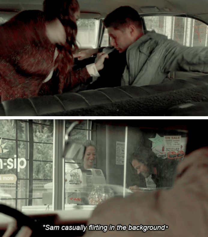 SPOILERS [GIFSET] Sam casually flirting in the background as Dean is being attacked