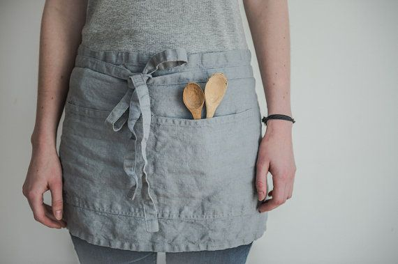 Linen cafe apron/short apron. Ice blue/silver grey washed natural, eco - friendly, handmade linen cafe apron