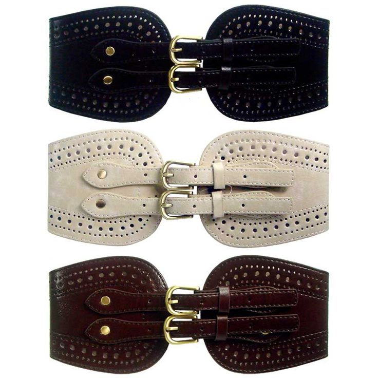 Thick elasticated belt with double buckle