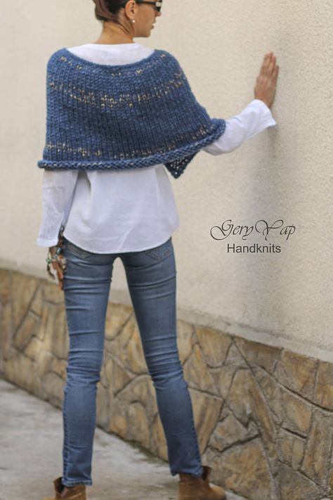 Women s wool acrylic poncho shrug hand knit poncho light gray blue purple  chunky knit poncho sweater hand made   poncho   Pinterest   Knitting, ... 6dc6297de9