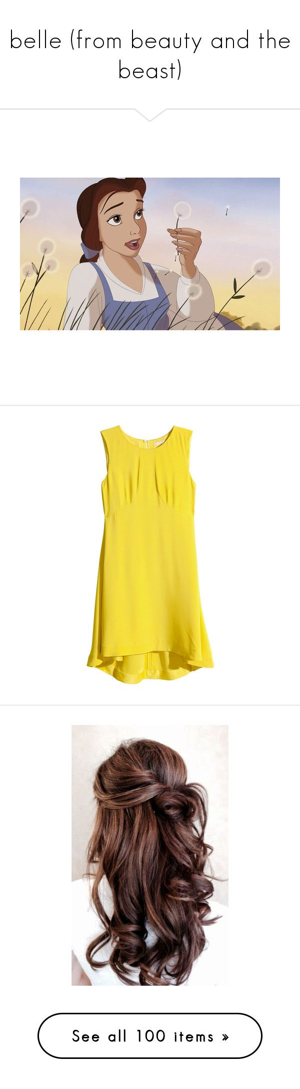 """""""belle (from beauty and the beast)"""" by elyr5 ❤ liked on Polyvore featuring disney, beauty and the beast, backgrounds, belle, art, dresses, h&m, tops, vestido and neon yellow"""
