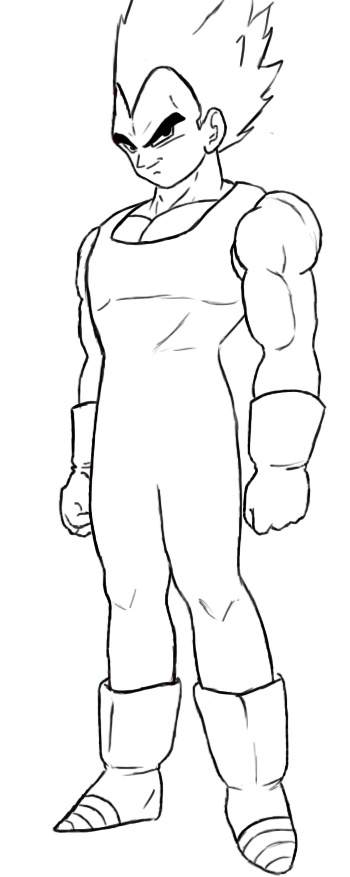 How to draw Vegeta, from the Dragonball anime series.